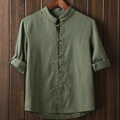 Aozora - Frog Button Tab-Sleeve Shirt