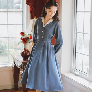Retro Forest - Contrast Color Collar Long-Sleeve A-Line Dress
