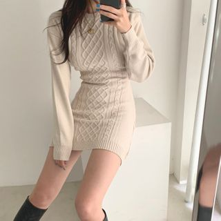 Jolly Club - Cutout Back Cable Knit Sheath Dress