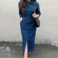 Coris - Elbow-Sleeve Denim Midi Dress