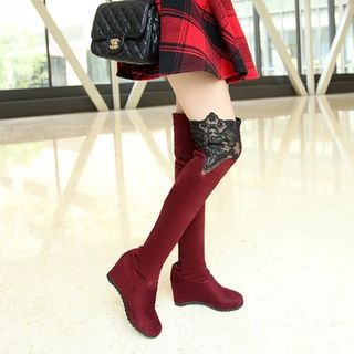 Shoes Galore - Lace Trim Hidden Wedge Over-the-knee Boots