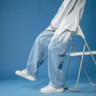 FOEV - 漸變色寬腿牛仔褲