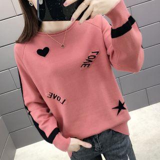 Ichimiu - Lettering Heart Print Sweater