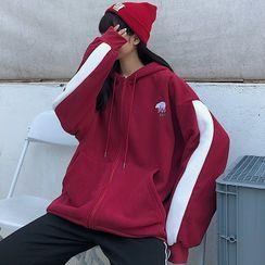 Ketaph - Contrast Trim Hooded Loose-Fit Jacket