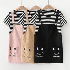 TOJI - 套装: 条纹短袖T裇 + 印花迷你直筒背带裙