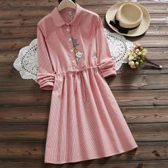 Velma - Pinstriped Cat Embroidered Long-Sleeve Collared Dress