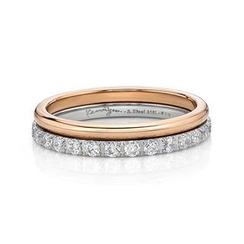 Kenny & co.(ケニー&co.) - Double Ring with IP Rose Gold Steel & Crystal