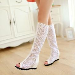 Shoes Galore - Lace Perforated Wedge Boot Sandals