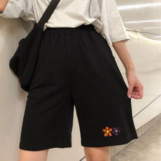 IndiGirl - Flower Embroidered Sport Shorts