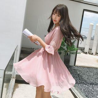 Cherry Dress - V-Neck Bell-Sleeve A-Line Chiffon Dress