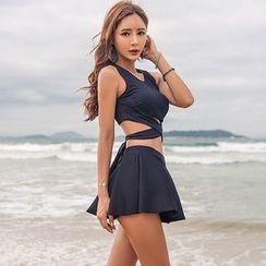 Salanghae - Set: Lace-up Tankini Top + Swim Skirt