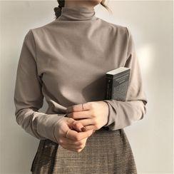 Fairy Essential - Plain Long-Sleeve Mock-Neck Top