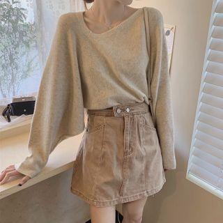 Ashlee - Asymmetric Sweater / Mini A-Line Denim Skirt