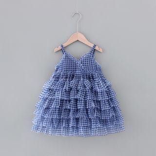 Mini Bae - Kids Spaghetti Strap Plaid Layered Dress
