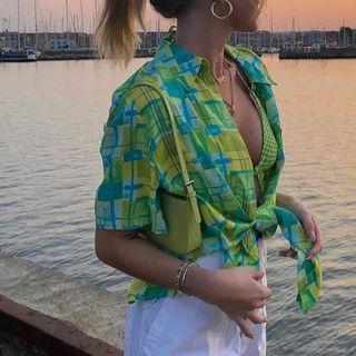 Pront - Short-Sleeve Plaid-Print Loose-Fit Shirt