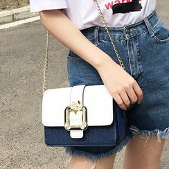 Lanabelle - Color Block Rhinestone Chain Mini Crossbody Bag