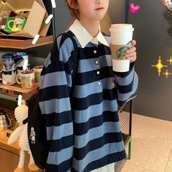 Swallow Castle - Long-Sleeve Striped Polo Shirt