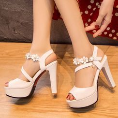 Cinnabelle - Platform Block Heel Floral Sandals