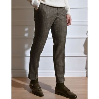 STYLEMAN - Glen-Plaid Straight-Cut Dress Pants