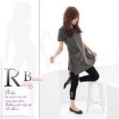 RingBear - 韩版设计精品.线条交叉立体口袋宽下摆长上衣