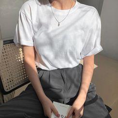 MERONGSHOP - Basic Colored Cotton T-Shirt