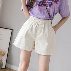 Peachton - 宽腿短裤