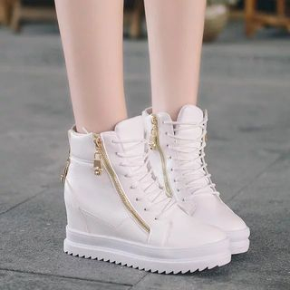 Raylove - Faux-Leather Hidden Heel High-Top Sneakers