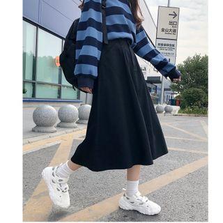 Sisyphi - Midi A-Line Denim Skirt