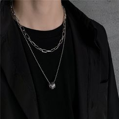 Porstina - Ring Pendant Layered Chain Necklace