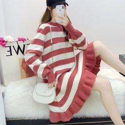 Mamaladies - Maternity Striped A-Line Sweater Dress / Tights / Set