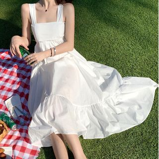 NUBE - Square Neck Strappy Midi A-Line Dress