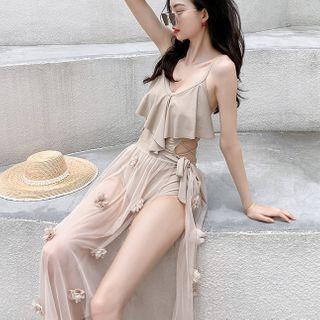 Salanghae - 套裝:荷葉鏤空多帶泳裝 + 網紗泳裙