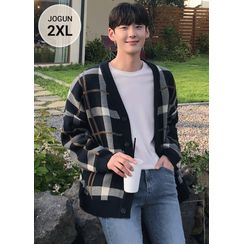 JOGUNSHOP - V-Neck Oversized Checked Cardigan