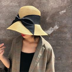 Birravin - Bow-accent Foldable Straw Sun Hat