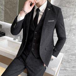 Besto - Set: Plaid Button-Up Vest + Blazer + Straight Leg Pants