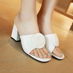 Kireina - Flower Block Heel Slide Sandals