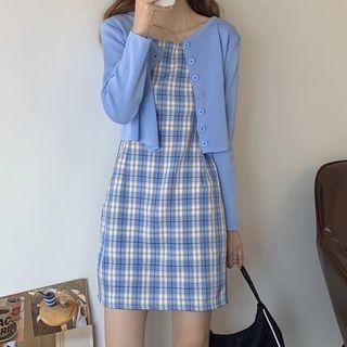 Rorah - 格子細肩帶迷你塑身連衣裙 / 純色開衫