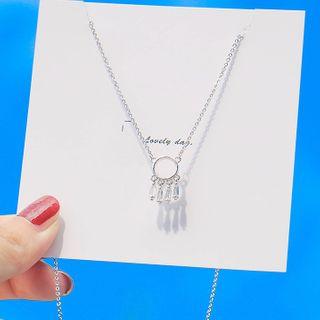 HOTTO - 925 Sterling Silver Rhinestone Dream Catcher Pendant Necklace