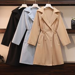 Gray House - Double-Breasted A-Line Coat Dress