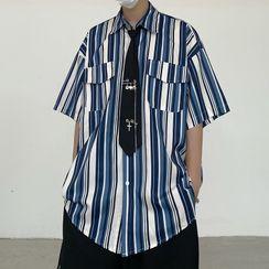 MAPOGO - 中袖條紋襯衫