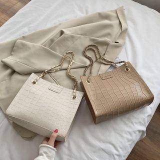 Daelynn - Croc Grain Faux Leather Tote Bag