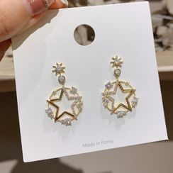 Catalunya - Rhinestone Alloy Star Dangle Earring