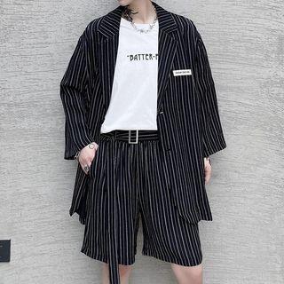 VEAZ - Set: 3/4-Sleeve Loose-Fit Striped Blazer + Shorts