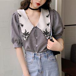 Chubchubs - 刺繡領格子泡泡袖襯衫