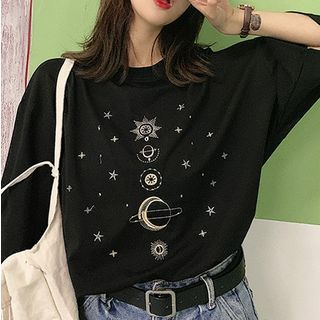 Moon City - Short-Sleeve Embroidered T-Shirt