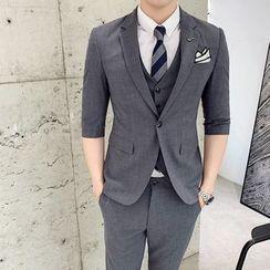 Bay Go Mall - Suit Set: Elbow-Sleeve Button-Up Blazer + Vest + Slim-Fit Dress Pants