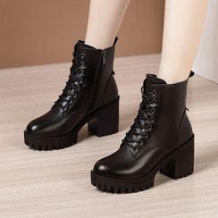 Obelie - 厚底粗跟系带短靴