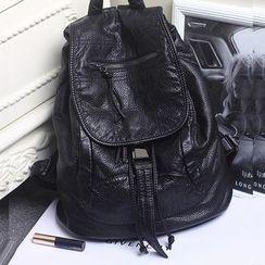 Annmuu - Genuine-Leather Flap Backpack