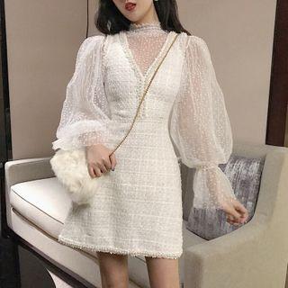 Astarte - Lantern-Sleeve Chiffon Top / Tweed Sleeveless A-Line Mini Dress