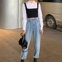 Attune - 短款衬衫 / 吊带背心 / 直身牛仔裤